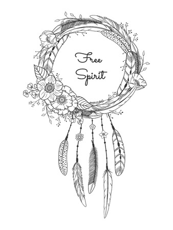 Dreamcatcher with feathers and flowers. Boho style. Hand drawn magic symbol. Black and white, suitable for coloring book. Bohemian collection. Vector illustration. Иллюстрация