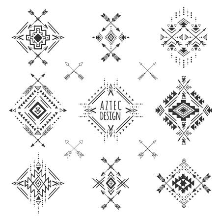 アステカの要素。部族の幾何学的なシンボル入れ墨、カード、装飾的な作品。民族の手描きの装飾を設定します。ベクトルの図。