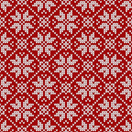 Winterpullover Fairisle-Design. Nahtloses Strickmuster der Weihnachts- und Neujahrswolle. Vektorillustration mit Schneeflocken. Urlaub traditioneller Hintergrund.