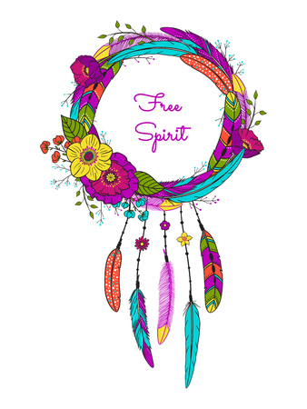 Dream catcher with feathers and flowers. Boho style. Hand drawn magic symbol. Bohemian talisman. American native indian amulet. Vector illustration isolated on white.