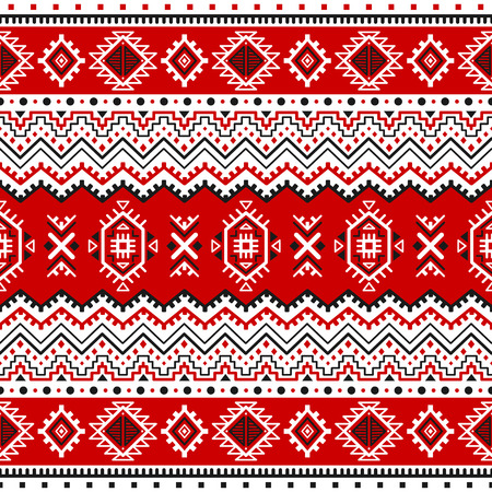 Ethnic Seamless Pattern With Black White Red Colors Inspired By