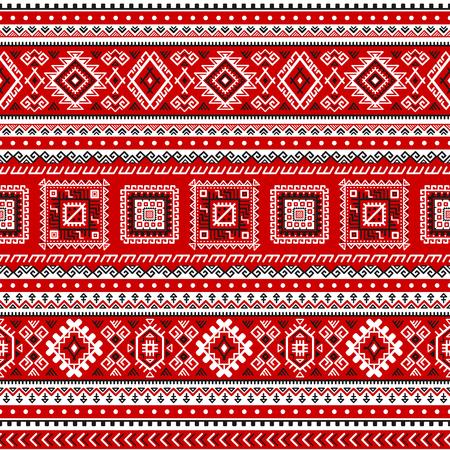 Modèle sans couture ethnique avec des couleurs noires, blanches, rouges. Inspiré des couleurs et motifs traditionnels slaves ukrainiens. Fond géométrique. Papier peint abstrait moderne. Pour la conception de papier, textile. Vecteur. Vecteurs