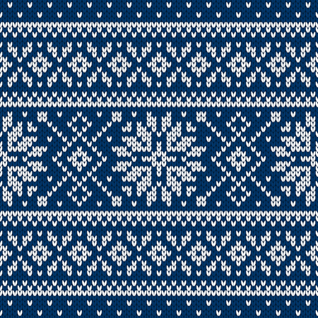Winter sweater fairisle design. Seamless christmas and new year wool knitting pattern. Vector illustration with snowflakes. Holiday traditional background.