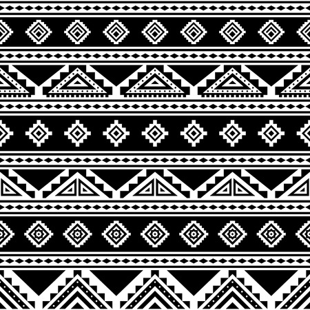 Tribal striped seamless pattern. Aztec geometric black-white background. Can be used in fabric design for making of clothes, accessories; decorative paper, wrapping, envelope; web design, etc. Vector illustration.