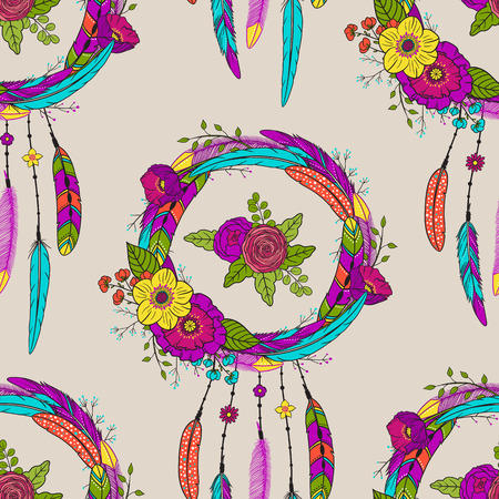 Seamless pattern with hand drawn dreamcatchers and flowers. Boho style. Pattern for textile, packaging, greeting card, invitation. Bohemian  talisman. American native tribe amulet. Vector illustration
