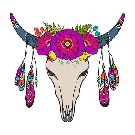 Ð¡ow skull decorated with poppies and other flowers and leaves, colored feathers. Bohemian symbol. Tribal vector illustration in boho style, isolated on white background.