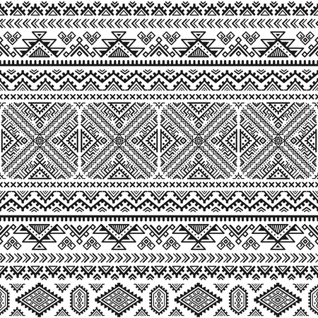 Ethnic seamless monochrome pattern. Aztec geometric background. Tribal print. Navajo fabric. Modern abstract wallpaper. Vector illustration. For paper, textile design. Ilustração