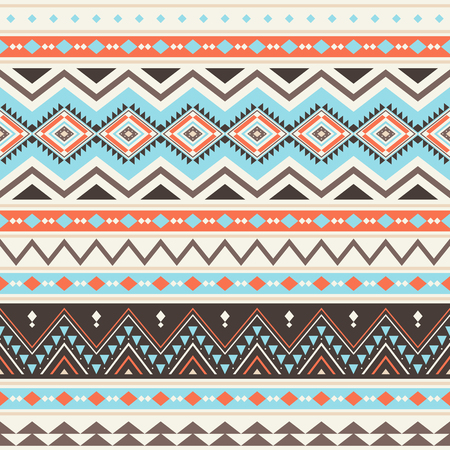 Tribal striped seamless pattern. Aztec geometric vector background. Can be used in textile design, web design for making of clothes, accessories, decorative paper, wrapping, envelope; backpacks, etc. Reklamní fotografie - 122124369