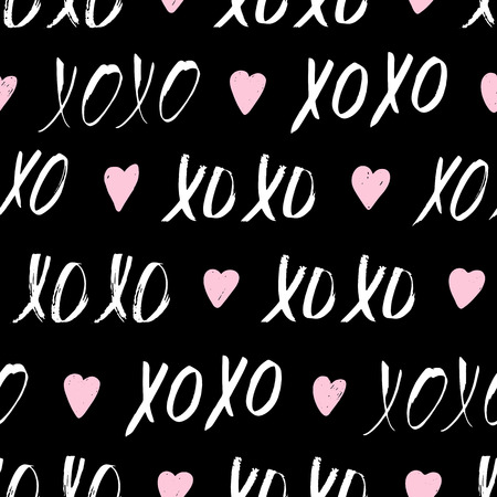 Seamless pattern with XOXO phrase and hearts on black. Romantic theme. Valentines Day background. Vector illustration. Ilustracja