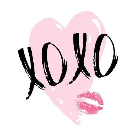 XOXO phrase with kiss - lip imprint, pink heart on white background. Hugs and kisses. Lettering on romantic theme. Valentines Day postcard. Vector illustration.
