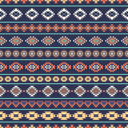 Tribal striped seamless pattern. Aztec geometric vector background. Can be used in textile design, web design for making of clothes, accessories, decorative paper, wrapping, envelope; backpacks, etc. Иллюстрация