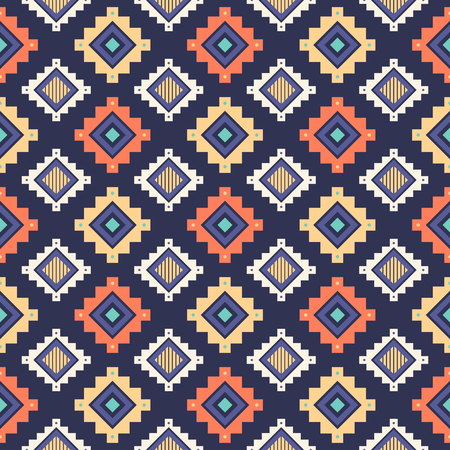 Tribal striped seamless pattern. Aztec geometric vector background. Can be used in textile design, web design for making of clothes, accessories, decorative paper, wrapping, envelope; backpacks, bags, phone cases, etc. Ilustracja
