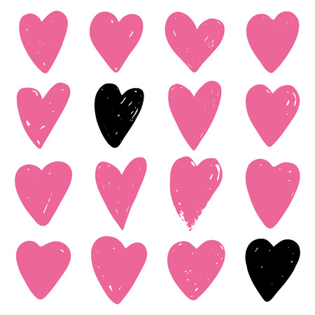 Set of pink hearts. Symbol of Valentine day. Love and wedding theme icons. Heart isolated on white background. Vector illustration.