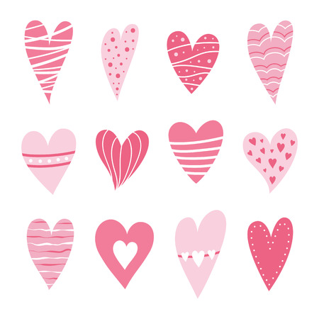 Set of hearts pink color. Symbol of Valentine day. Love and wedding theme icons. Cute heart isolated on white background. Vector illustration.