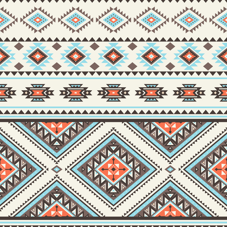 Tribal striped seamless pattern. Aztec geometric vector background. Can be used in textile design, web design for making of clothes, accessories, decorative paper, wrapping, envelope; backpacks, bags, phone cases, etc.  イラスト・ベクター素材