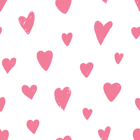 Seamless pattern with pink hearts. Symbol of Valentine day. Love and wedding theme. Heart shapes on white background. Vector illustration.