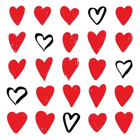 Red hearts set. Symbol of Valentine day. Love and wedding theme icons. Heart isolated on white background. Vector illustration. Ilustracja
