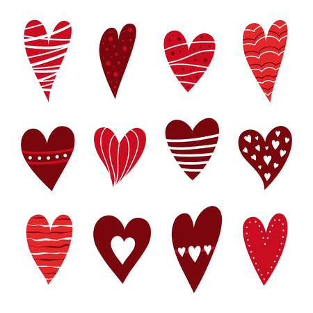 Red hearts set. Symbol of Valentine day. Love and wedding theme icons. Cute heart isolated on white background. Vector illustration.
