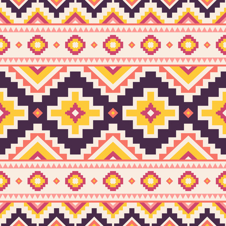 Tribal striped seamless pattern. Aztec geometric vector background. Can be used in textile design, web design for making of clothes, accessories, decorative paper, wrapping, envelope; backpacks, bags, phone cases, etc. Ilustração