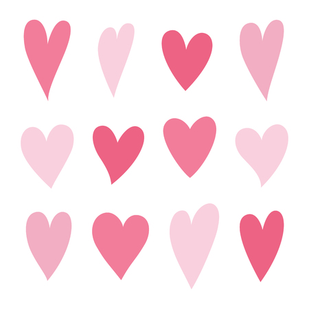 Set of hearts pink color. Symbol of Valentine day. Love and wedding theme icons. Heart isolated on white background. Vector illustration.