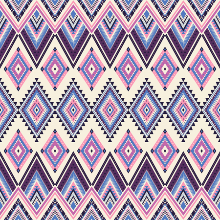 Tribal striped seamless pattern. Aztec geometric vector background. Can be used in textile design, web design for making of clothes, accessories, decorative paper, wrapping, envelope; backpacks, etc. Ilustracja