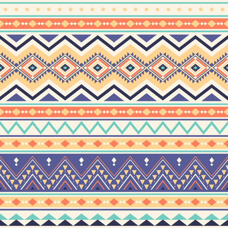 Tribal striped seamless pattern. Aztec geometric vector background. Can be used in textile design, web design for making of clothes, accessories, decorative paper, wrapping, envelope; backpacks, bags, phone cases, etc. Ilustrace
