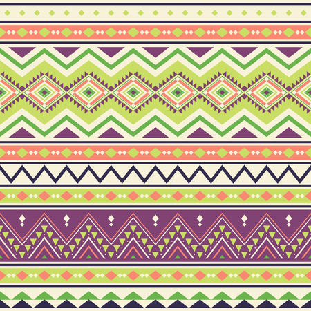 Tribal striped seamless pattern. Aztec geometric vector background. Can be used in textile design, web design for making of clothes, accessories, decorative paper, wrapping, envelope; backpacks, etc. Ilustrace