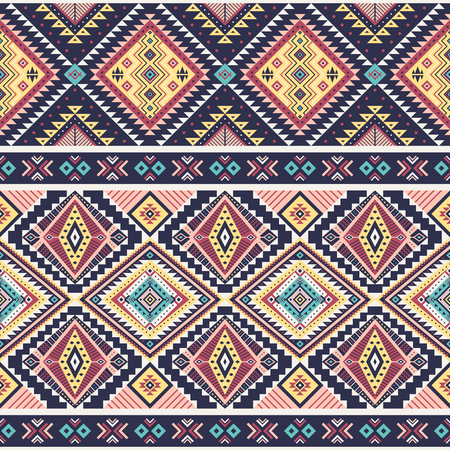 Tribal striped seamless pattern. Aztec geometric vector background. Can be used in textile design, web design for making of clothes, accessories, decorative paper, wrapping, envelope; backpacks, bags, phone cases, etc.