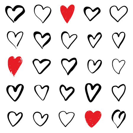 Set of hearts. Symbol of Valentine day. Love and wedding theme icons. Heart isolated on white background. Vector illustration.