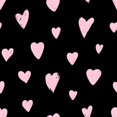Seamless pattern with pink hearts. Symbol of Valentine day. Love and wedding theme. Heart shapes on black background. Vector illustration.