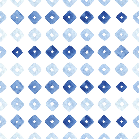 Watercolor seamless pattern with blue rhombus. Abstract modern background, illustration. Zdjęcie Seryjne