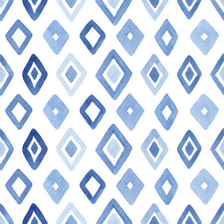 Watercolor seamless pattern with blue rhombus. Abstract modern background, illustration. Template for textile, wallpaper, wrapping paper, etc. Zdjęcie Seryjne