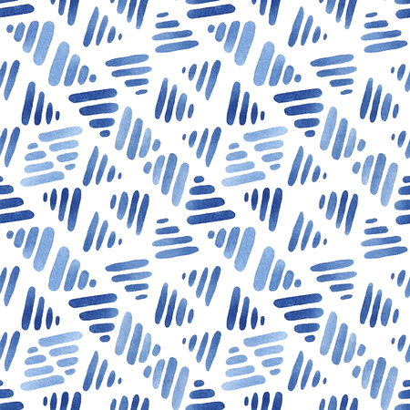 Blue watercolor seamless pattern with lines, abstract modern background, illustration. Stock fotó