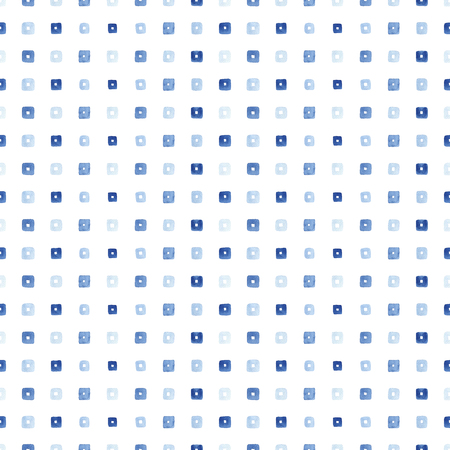 Blue watercolor seamless pattern with squares. Illustration with mosaic. Template, modern background. Zdjęcie Seryjne