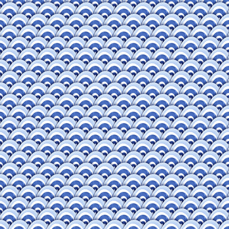 Blue watercolor seamless pattern with abstract sea waves.  Modern background, illustration. Zdjęcie Seryjne