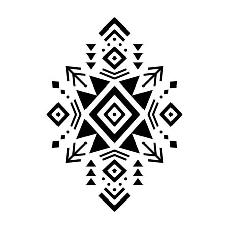 Aztec vector element, ethnic ornament. Tribal design, geometric symbol for border, frame, tattoo, card, decorative paper. Navajo motif, isolated on white background.