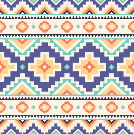 Tribal striped seamless pattern. Aztec geometric vector background. Can be used in textile design, web design for making of clothes, accessories, decorative paper, wrapping, envelope; backpacks, etc. Ilustração
