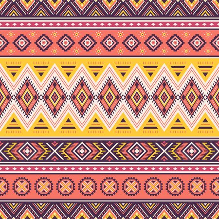 Tribal striped seamless pattern. Aztec geometric vector background. Can be used in textile design, web design for making of clothes, accessories, decorative paper, wrapping, envelope; backpacks, etc. Illusztráció