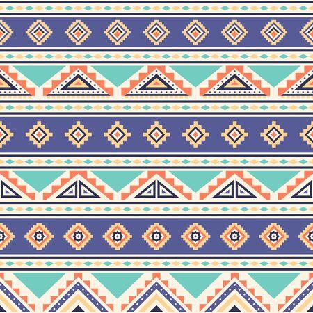 Stammes- gestreiftes nahtloses Muster. Aztekischer geometrischer Vektorhintergrund. Einsetzbar im Textildesign, Webdesign zur Herstellung von Kleidung, Accessoires, Dekorationspapier, Verpackung, Umschlag; Rucksäcke usw.