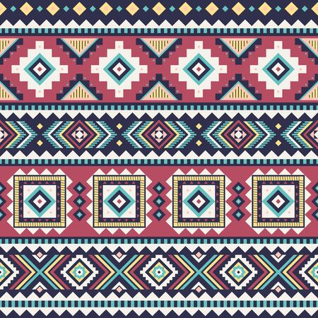 Tribal striped seamless pattern. Aztec geometric vector background. Can be used in textile design, web design for making of clothes, accessories, decorative paper, wrapping, envelope; backpacks, etc. Векторная Иллюстрация