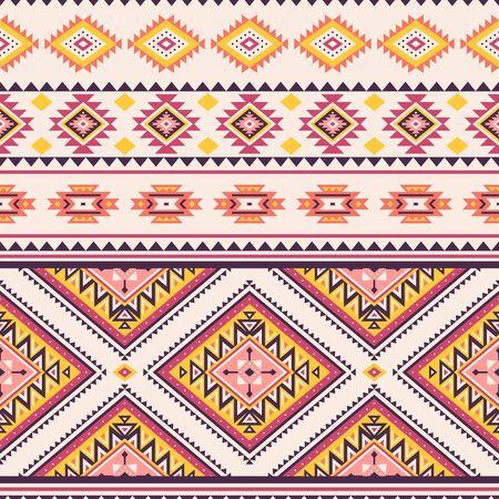 Patrón transparente de rayas tribales. Fondo de vector geométrico azteca. Se puede utilizar en diseño textil, diseño web para confección de ropa, accesorios, papel decorativo, envoltura, sobre; mochilas, etc. Ilustración de vector