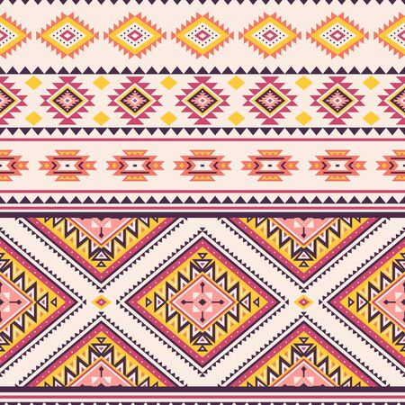 Tribal striped seamless pattern. Aztec geometric vector background. Can be used in textile design, web design for making of clothes, accessories, decorative paper, wrapping, envelope; backpacks, etc. Vetores