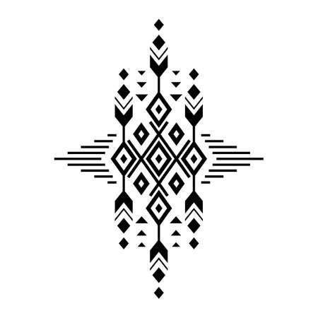 Aztec vector element, ethnic ornament. Tribal design, geometric symbol for border, frame, tattoo, logo, card, decorative paper. Navajo motif, isolated on white background.