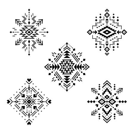 Aztec vector elements. Set of ethnic ornaments. Tribal design, geometric symbols for border, frame, tattoo, logo, cards, decorative paper. Navajo motifs, isolated on white background.