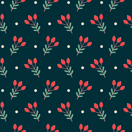 Christmas seamless pattern with branches, berries, snow balls. Vector background on dark. Cute illustration for fabric, wrapping paper, postcard design.