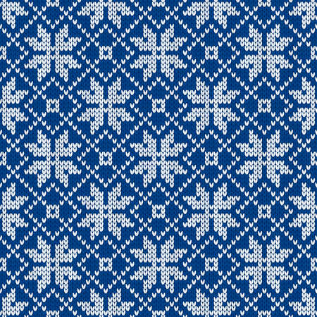 Scandinavian knitted seamless pattern. Norwegian native style sweater with snowflakes. Wool texture. Winter holiday background. Vector illustration.