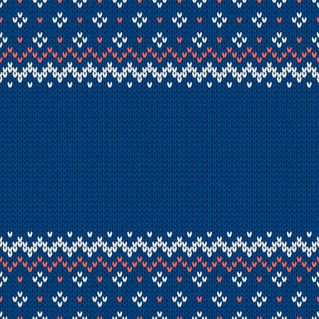 Knitwear texture. Template with empty place for text. Traditional seasonal seamless background for holiday design. Winter knitted wool sweater pattern. Christmas vector illustration.