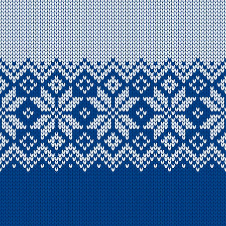 Scandinavian knitted seamless pattern. Norwegian native style sweater, ornament with snowflakes. Fair Isle design. Wool texture. Winter holiday background. Vector illustration.