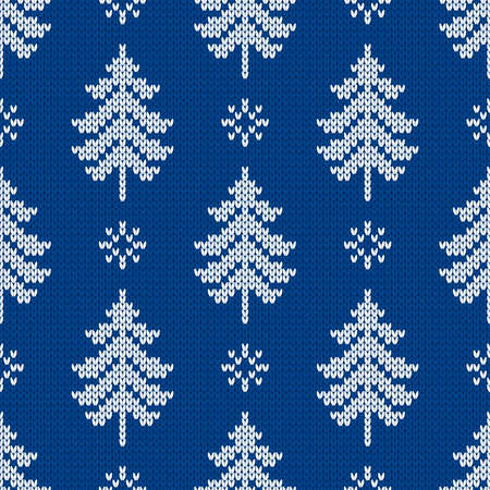 Winter traditional knitted pattern. Scandinavian style sweater. Seamless wool texture. Vector illustration with snowflakes and christmas trees. Holiday background.