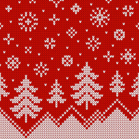 Winter sweater with Christmas trees, snowdrifts and snowfall. Norwegian seamless knitting pattern. Holiday traditional background. Fair Isle design. Vector illustration.